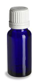 15 ml. Cobalt Blue Glass Bottle with White Tamper Evident Cap and orifice reducer