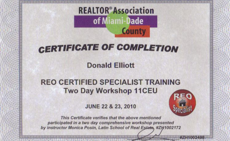 Miami Real Estate REO certification