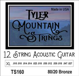 Tyler Mountain TS160-12 String Acoustic Guitar Strings Extra Light - 80/20 Bronze-SPECIAL PRICING AVAILABLE FROM DEALERS