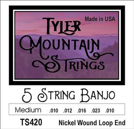 Tyler Mountain TS420 Banjo Strings-Medium- 5 String- Nickel Wound Loop End-SPECIAL PRICING AVAILABLE FROM DEALERS
