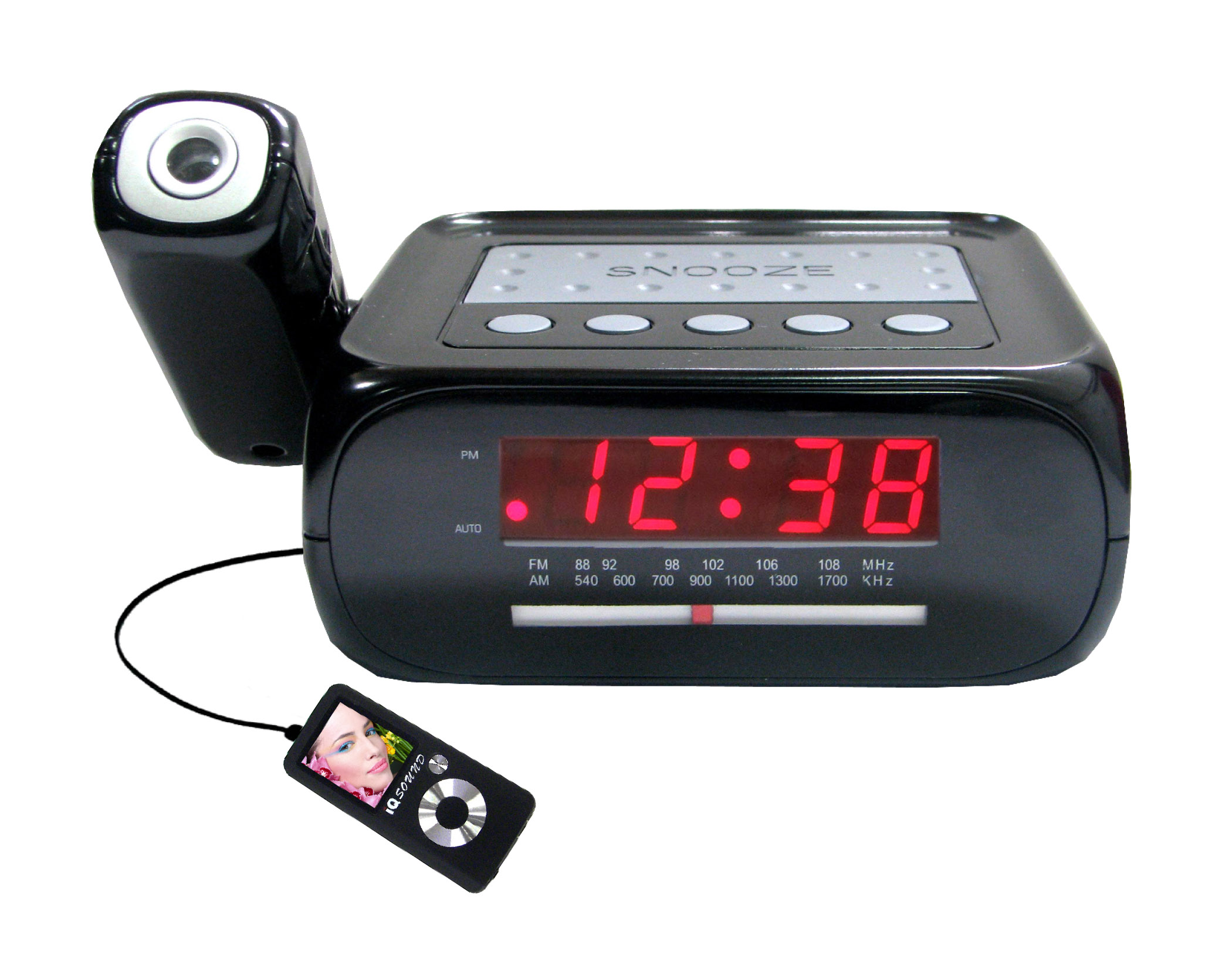 digital am fm alarm clocks supersonic inc sc 371 digital projection alarm clock with am fm. Black Bedroom Furniture Sets. Home Design Ideas