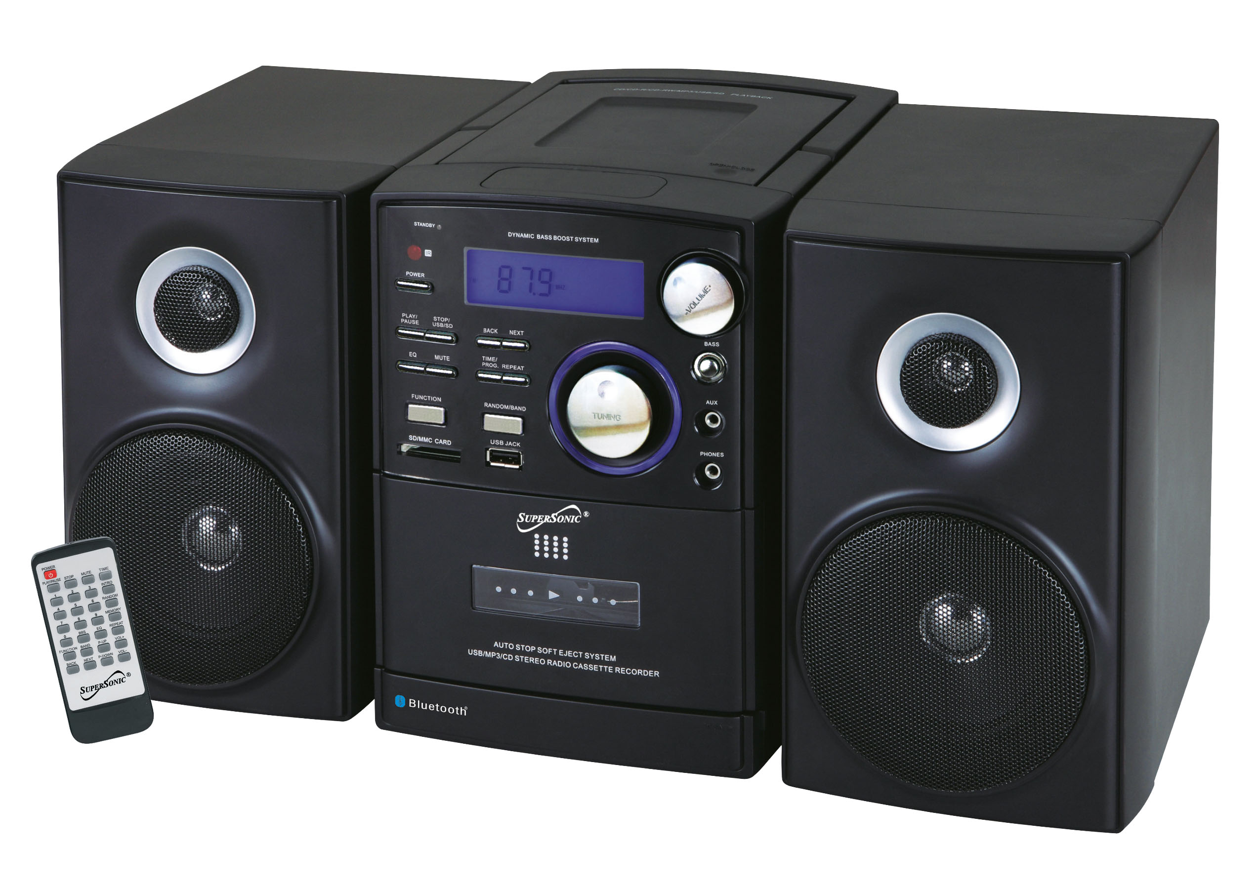 portable audio system with mp3 cd player bluetooth usb sd aux inputs cassette recorder am. Black Bedroom Furniture Sets. Home Design Ideas